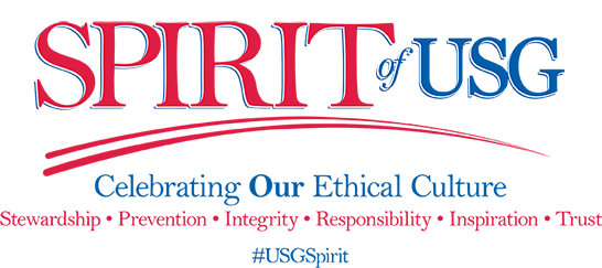 Spirit of USG Logo - Celebrating Our Ethical Culture: Stewardship, Prevention, Integrity, Responsibility, Inspirtaiton, Trust #USGSpirit