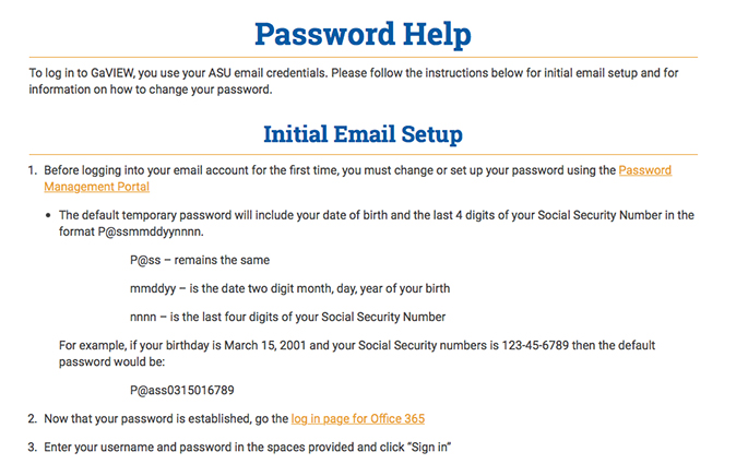Screen Shot of the Password Help page.